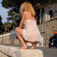 See-through In Public - Blonde Hair, Exhibitionist, Long Hair