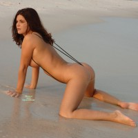 Monokini - Brown Hair, Dark Hair, Large Breasts, Long Hair, Long Legs, Sexy Ass, Sexy Feet, Sexy Figure