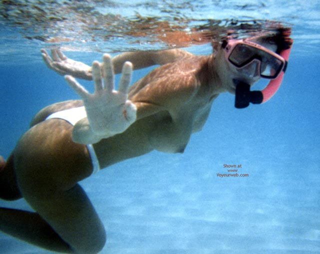 Pic #1 - Topless Diver - Topless , Topless Diver, Girl Snorkeling Topless, Floating Tits, White Bikini Bottom, Underwater, Topless Underwater, Topless Snorkeling