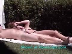 Backyard sunbathing and foreplay