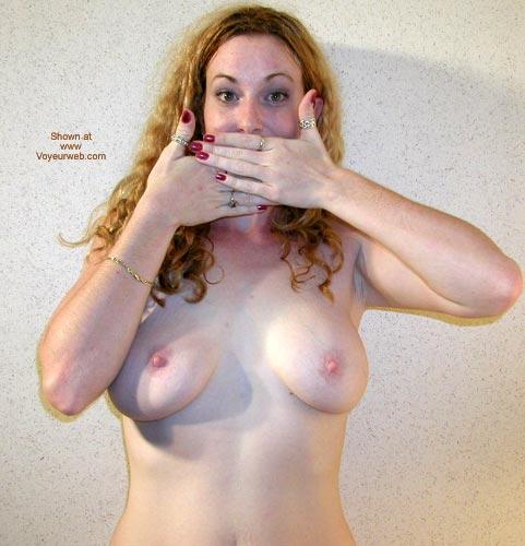 Pic #1 - Medium Sized Boobs - Hard Nipple, Standing, Topless Girl , Medium Sized Boobs, Standing, Hiding Mouth, Topless Girl, Frontal Shot Indoors, Hard Nipples