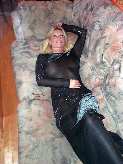 Pic #8 - Large Breasts In A See Thru Evening Dress