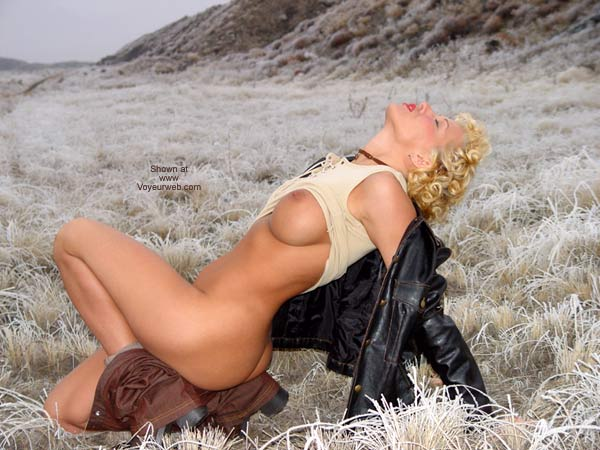 Pic #1 - Nude In Public Field Outdoors - Nude Outdoors , Nude In Public Field Outdoors, Black Leather Jacket, Short Curly Blonde, Posing In A Field, Head Back Eyes Closed, Nude In Frost