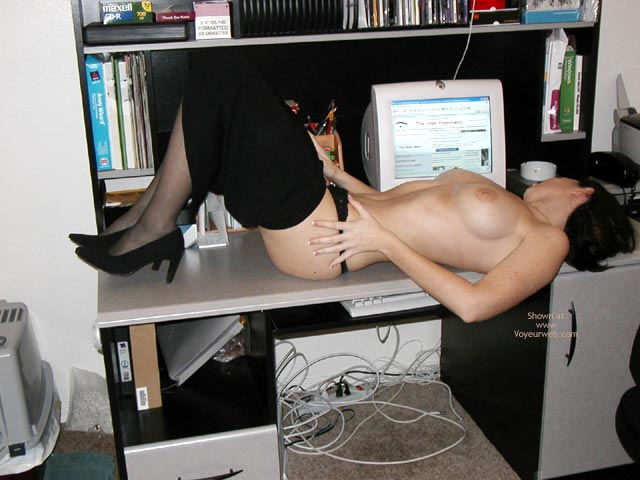 Pic #1 - Computer Fun - Fun, Stockings, Sexy Shoes , Computer Fun, Topless In Front Of Computer, Lying On Office Desk, Undressing Girl, Black Stockings, Black Shoes, Black Fally Down Skirt, Voyeur Webbing Boobs