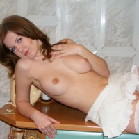 White French Maid's Apron - Blue Eyes, Brunette Hair, Shaved Pussy