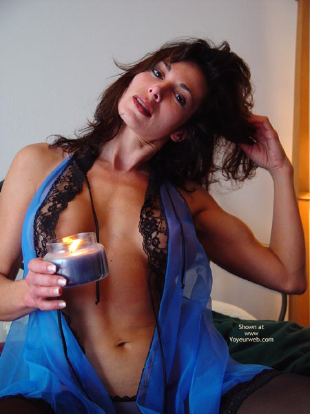 Pic #1 - See-through Blue Lingerie , See-through Blue Lingerie, Non-nude Brunette, Woman With Candle