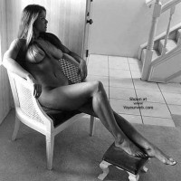 Nude On Chair - Black And White, Dark Hair, Long Legs