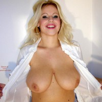 Blonde Flashing Breast - Big Tits, Eye Contact, Smiling