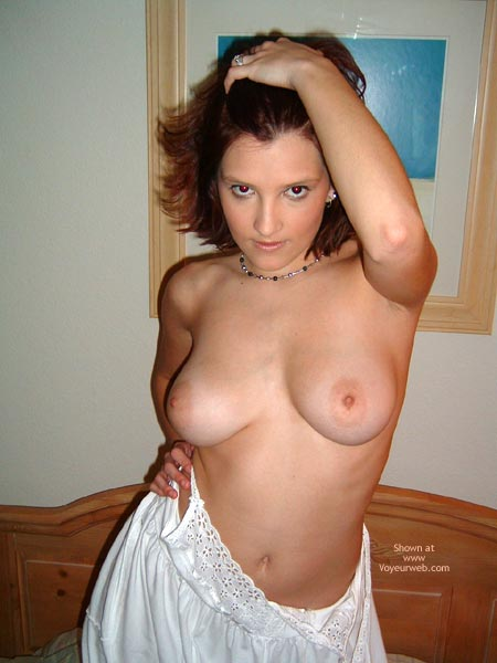 Pic #1 - Bare - Bedroom, Brunette Hair , Bare, Eyes, Bedroom, Big Titted Brunette, White Cotton Night Gown, Light Skinned Boobs, Big Light Areole