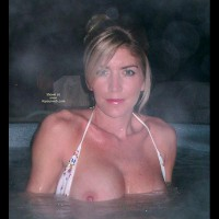 Flashing In The Hot Tub - Bikini, Looking At The Camera