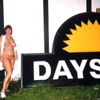 Purple Patty outside Days Inn