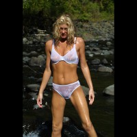 Wet Blonde Standing Outdoors - Bikini, Long Hair, Wet