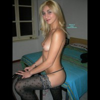Topless Blonde Girlfriend In The Bedroom With Sexy Black Stockings - Black Hair, Blonde Hair, Long Hair, Stockings, Topless, Naked Girl, Nude Amateur