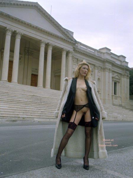 Pic #1 - Exposed In Public - Exposed In Public, Stockings , Exposed In Public, Black Garter Belt, Black Stockings, Black High Heel Pumps
