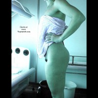 Lisa in the tanning room