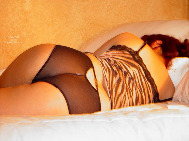 Pic #1 - Laying On Bed Black Lingerie - Sexy Ass, Sexy Lingerie , Laying On Bed Black Lingerie, Black See Through Panties, Nylon Panty, Sleeping Girl, Leopard Top, Backview, Ass Shot