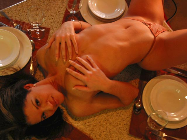 Pic #1 - Soup Or Pussy , Soup Or Pussy, Laying On Table, Hands On Tits, Arching Back, Dinner, Orange Panties, Erect Nipple Covered