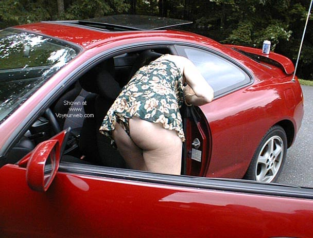 Pic #1 - Becky cleaning the car