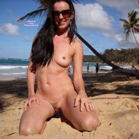 Kneeling Nude On Tropical Beach - Black Hair, Long Hair, Navel Piercing, Sunglasses, Trimmed Pussy, Naked Girl, Nude Amateur