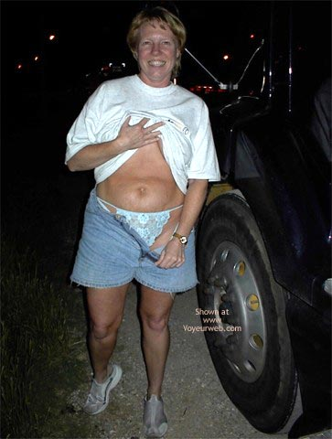 Pic #3 - Flashing A Trucker At A Rest Area