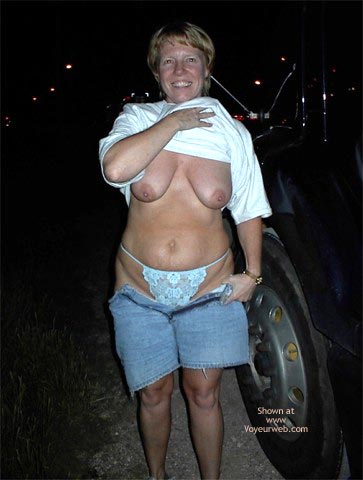 Pic #4 - Flashing A Trucker At A Rest Area