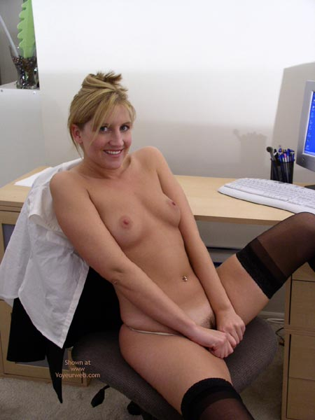 Pic #1 - At The Computer - Navel Piercing, Small Tits, Stockings, Sexy Panties , At The Computer, Black Stockings, Pulling Down Panties, Office Boobs, Small Titties, On Office Chair, Blonde With Dark Pubic Hair, Undressed For Work, Belly Button Ring