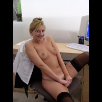 At The Computer - Navel Piercing, Small Tits, Stockings, Sexy Panties