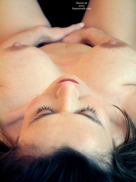 Pic #1 - Lying Nude - Large Breasts , Lying Nude, Hand Covering Cunt, Tits From Above, Large Breasts, Black Hair
