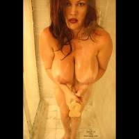 Dildo In The Shower - Big Tits, In The Shower, Wet