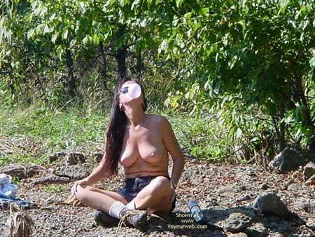 Pic #1 - Topless - Nude Outdoors, Perky Tits, Topless , Topless, Blowing Bubbles, Outdoors, Perky Tits, Sun Glasses, Blu Jeans Shorts