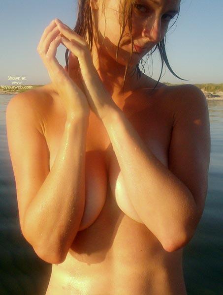 Pic #1 - Seductive - Beach Voyeur , Seductive, Beach, Naked And Wet, Arms Over Boobs
