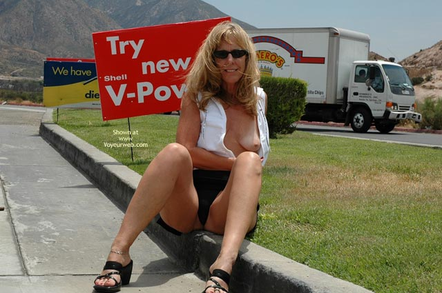 Pic #1 - Roadside Attraction - Sunglasses, Upskirt , Roadside Attraction, Flashing Tit, Upskirt, Sunglasses, Black Mini Skirt, Shirt Unbuttoned