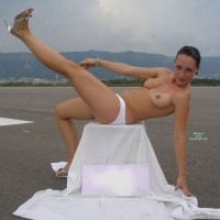 Topless Girl Outdoor On Runway - Brunette Hair, Firm Tits, Hard Nipple, Topless, Naked Girl, Nude Amateur