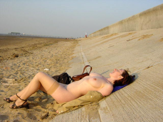 Pic #1 - Brunette Girl In Beach , Brunette Girl In Beach, Tan Stockings, Wearing Stockings On A Beach, Lying Back