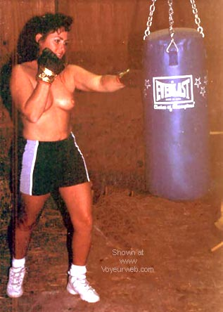 Pic #1 - JayLee hitting the bag and talking