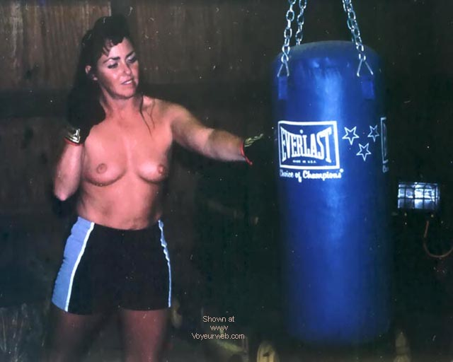 Pic #2 - JayLee hitting the bag and talking