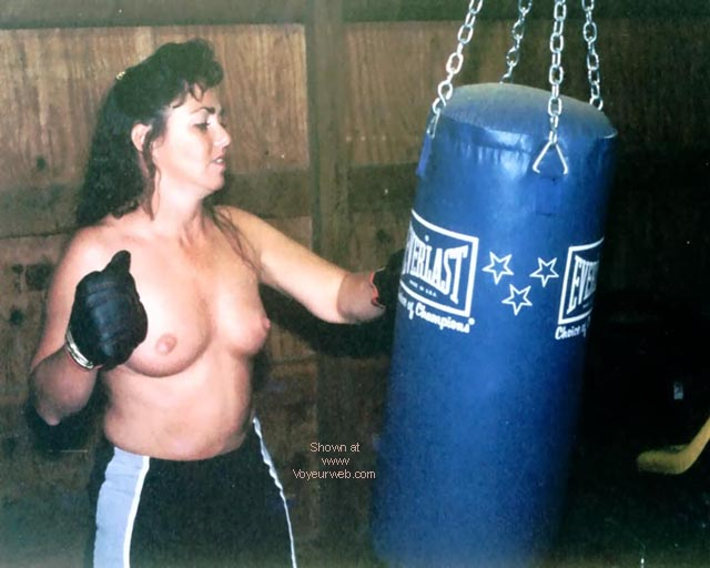 Pic #3 - JayLee hitting the bag and talking
