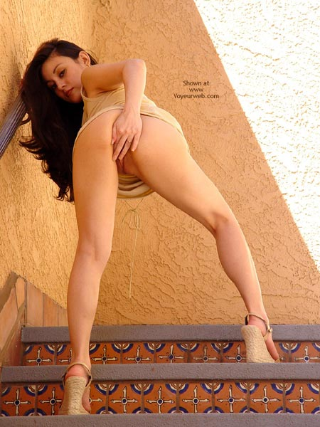 Pic #1 - Stairs - From Behind, Nude In Public, Stairs, Looking At The Camera , Stairs, Peek, Pussy Flash In Public, Pussy Play In Public, Flash On The Staircase, Covering Pussy With Fingers In Public, Looking At Camera, From Behind
