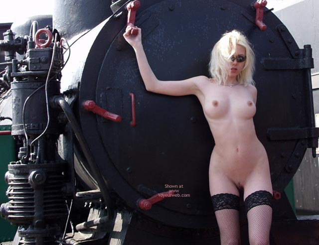 Pic #1 - Naked Blonde With Machinery - Thigh Highs , Naked Blonde With Machinery, Thigh Highs, Cherry Red Nips