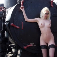 Naked Blonde With Machinery - Thigh Highs