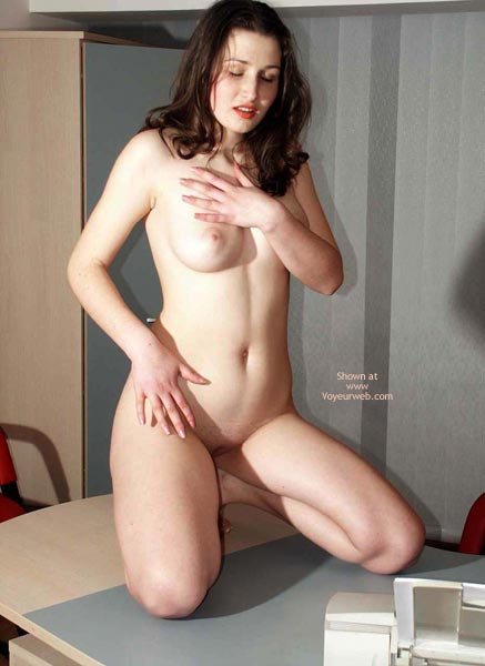Pic #1 - Naked Girl Kneeling On A Desk - Dark Hair, Full Frontal Nudity, Full Nude, Naked Girl Kneeling On A Desk, Dark Hair, Fully Nude, Frontal Shot, Dinner Is Ready, Kneeling On Table, Full Boobs