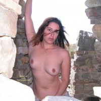 Topless Girl Standing Outdoors - Brown Eyes, Dark Hair