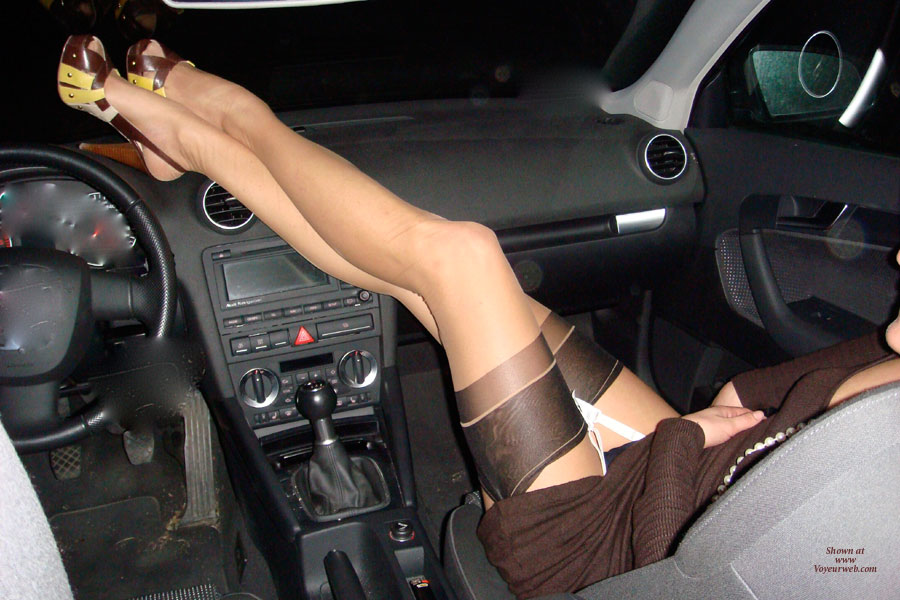 Pic #1 - Wife's Very Long Sexy Legs On Dash - Long Legs, Sexy Feet, Sexy Legs , Hot Wife, Feet On Dash Board, Black And Yellow Cfm Shoes, White Suspender Belt, Very Long Legs, Arched Feet, Long Legs Up, Brown Knit Dress, Elegant Heels And Hose, Woman In Car