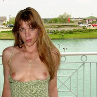 Green Dress Reveals Little Titties - Nude In Public, Perky Tits