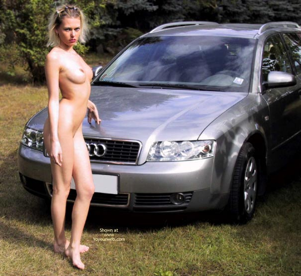 Pic #1 - Outside - Nude Outdoors, Naked Girl , Outside, Naked, Take The Picture Look, Girl W/car, Stiff Nipples, Firm Boobs, Killer Body