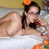 Young Brunette In Bed - Glasses