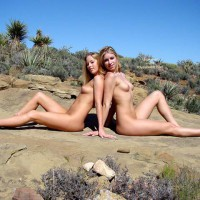 Nude Blondes Sitting Back To Back - Puffy Nipples