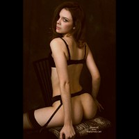 Stradling Chair Looking Over Shoulder - Bra, Looking Over Shoulder, Stockings