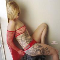 Full Body Tatoo - Blonde Hair, Pierced Nipples, Small Breasts