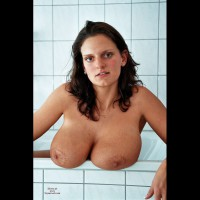 Huge Tits Resting On Bathtub - Brown Eyes, Dark Hair, Hard Nipple, Huge Tits